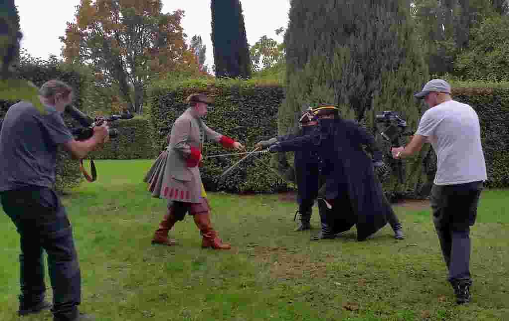duel combat filmé en tournage
